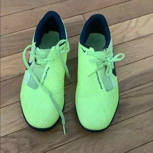 Nike Neon yellow indoor soccer shoes